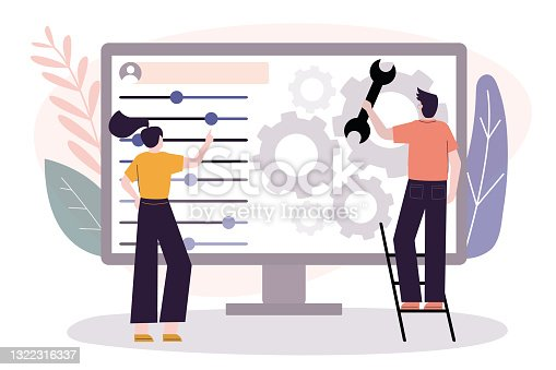 istock User customize settings on monitor. Computer screen with users personal page. User interface customization, programming 1322316337