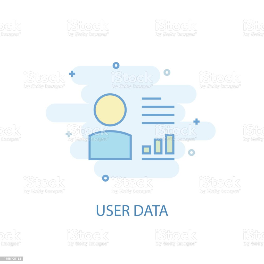 user data line concept. Simple line icon, colored illustration. user...