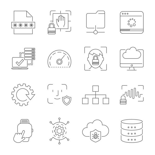 User experience and usability, digital technologies, apps and interfaces signs and symbols. Editable Stroke. EPS 10 vector art illustration