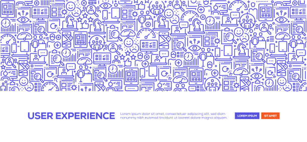 illustrazioni stock, clip art, cartoni animati e icone di tendenza di user experience banner - focus group