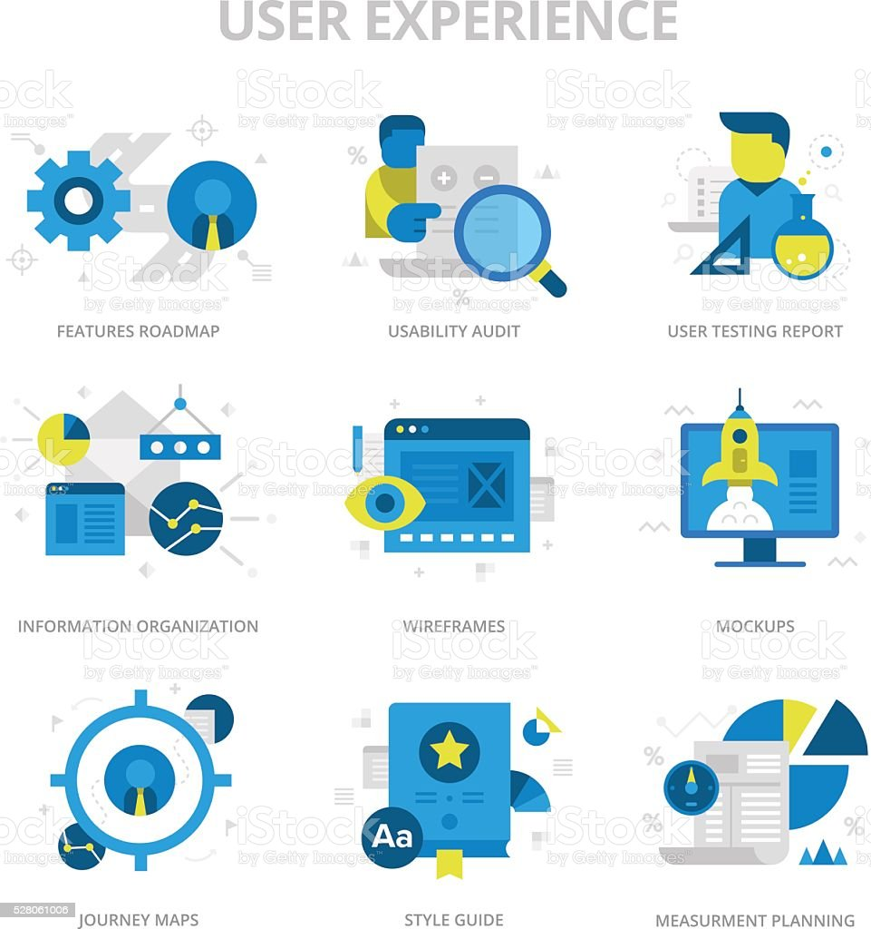 User Experience Flat Icons vector art illustration