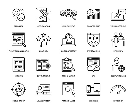 User Experience Icon Set - Thin Line Series