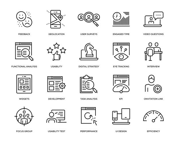User Experience Icon Set User Experience Icon Set - Thin Line Series survey icon stock illustrations