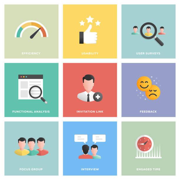 User Experience Icon Set User Experience Icon Set Flat Design interview event stock illustrations