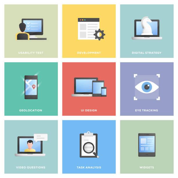 illustrazioni stock, clip art, cartoni animati e icone di tendenza di user experience icon set - focus group