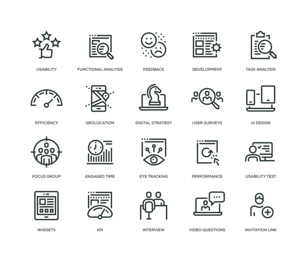 User Experience Icons - Line Series User Experience Icons - Line Series meter instrument of measurement stock illustrations