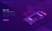 User experience concept vector isometric illustration. Mobile app ux, ui interface developmenti for online shopping, smartphone and website wireframe on screen