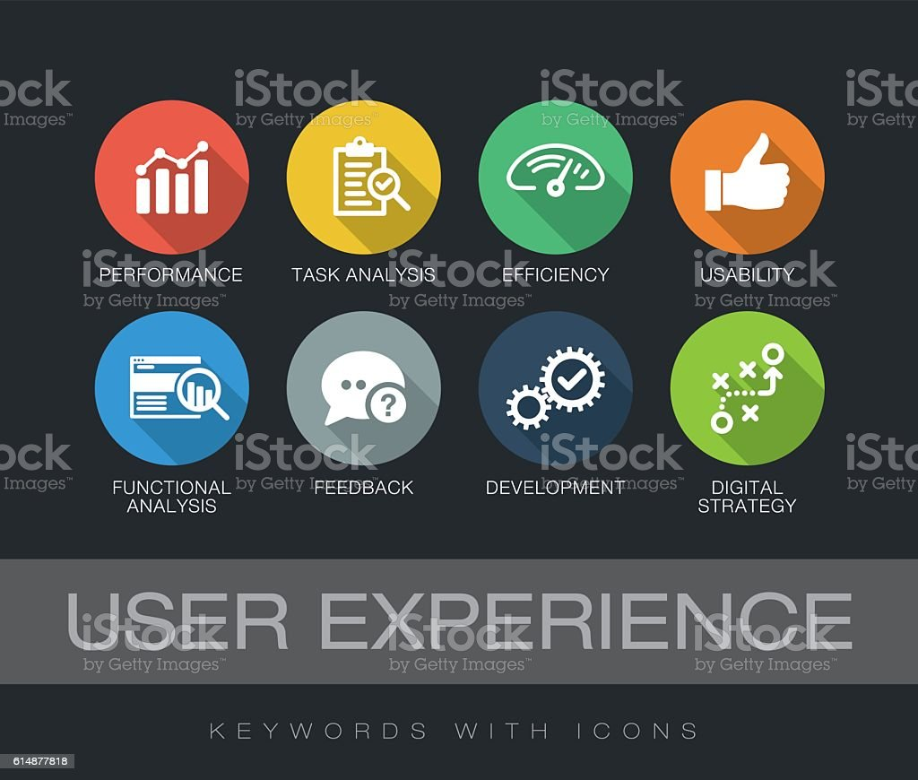 User Experience keywords with icons - ilustración de arte vectorial