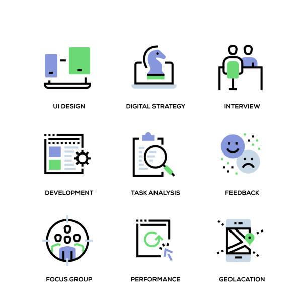 illustrazioni stock, clip art, cartoni animati e icone di tendenza di user experience line icon set - focus group