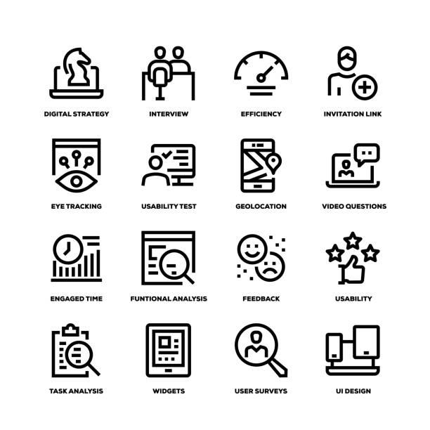 ilustrações de stock, clip art, desenhos animados e ícones de user experience line icons - video call