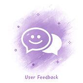 Vector speech bubble line icon over watercolor background.
