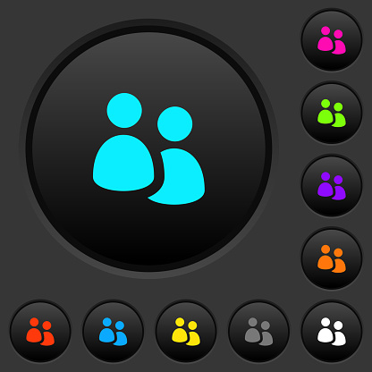 User group dark push buttons with color icons