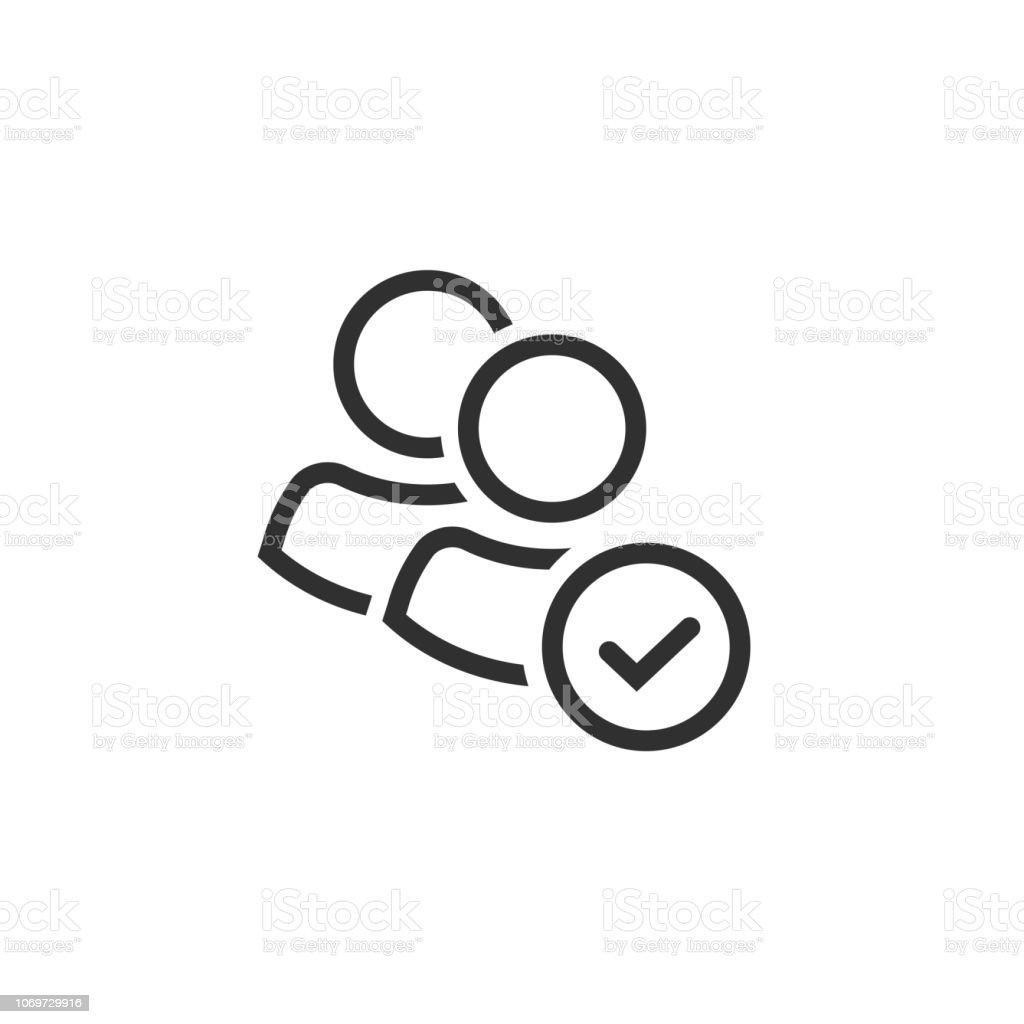 Benutzer Gruppe Symbol Vektor, Linie Kunst Umriss Personen team Silhouette mit Häkchen oder Tick Symbol isoliert, Vorstellung von Partnerschaft oder Teamarbeit, Leute Mitgliedschaft Zeichen ClipArts – Vektorgrafik