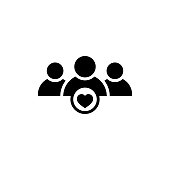User group icon with heart shape in flat style. Management business team leader sign. Teamwork with love icon. Health care management symbol. Heart group icon. Wedding group. Happy business team icon