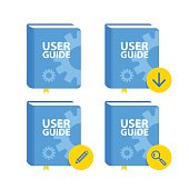 User Guide book download icon set. Flat vector illustration