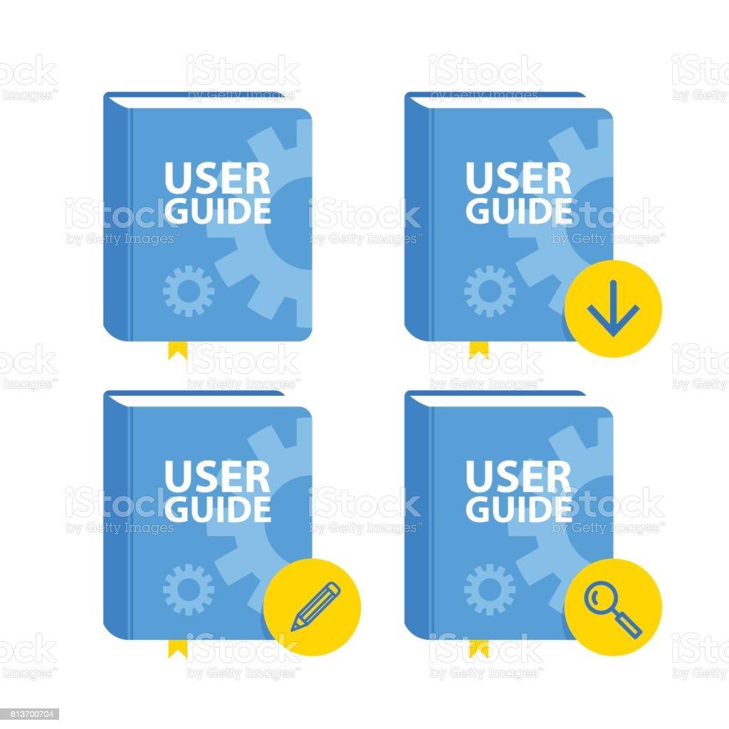 Manuel de l'utilisateur télécharger jeu d'icônes. Illustration vectorielle plane - Illustration vectorielle