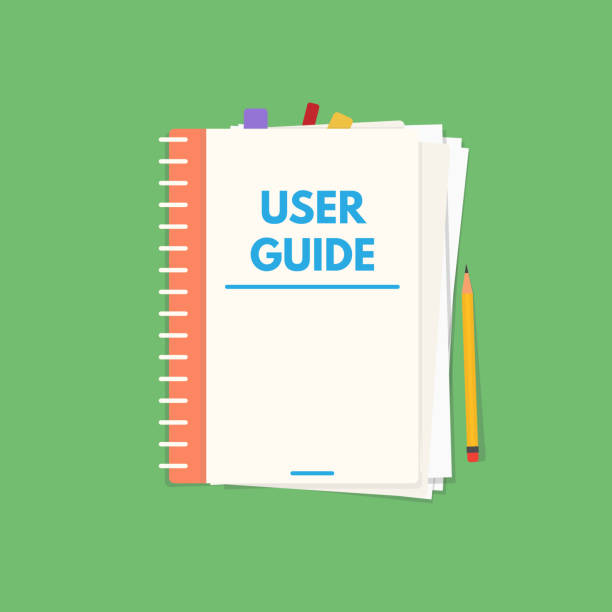 User guide book User guide book. Handbook with cover and text user guide. Instructions and guidance manual textbook. Tutorial or other education vector flat style banner. guide stock illustrations