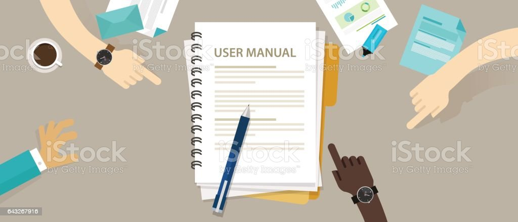 user guide manual instruction book document paper reference vector art illustration