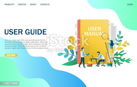 User guide vector website template, web page and landing page design for website and mobile site development. User manual concept.