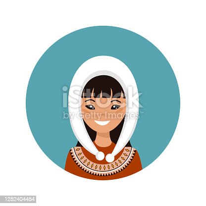 istock User icon of young Alaska woman in flat style 1252404454