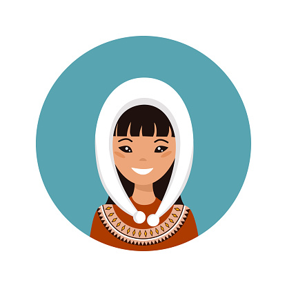 User icon of young Alaska woman in flat style
