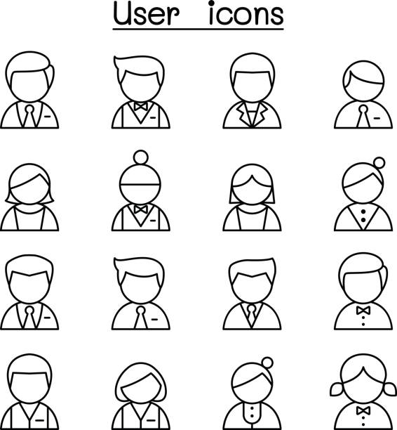 user icon set in thin line style - old man computer silhouette stock illustrations, clip art, cartoons, & icons