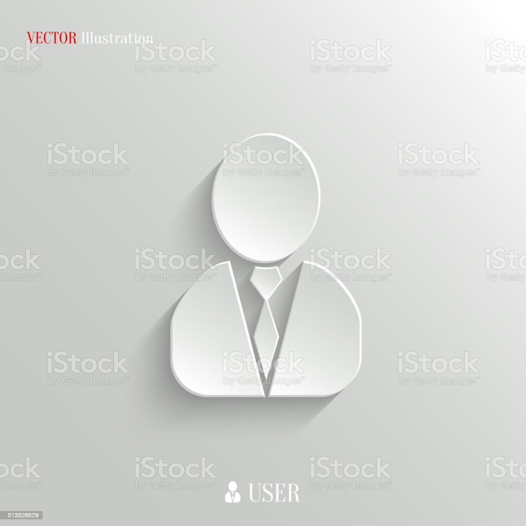 User Icon Vector White App Button Stock Illustration