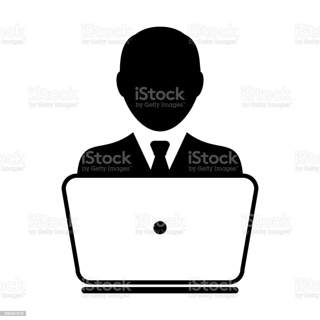 vecteur dic ne utilisateur avec ordinateur portable ordinateur m le personne profil avatar pour. Black Bedroom Furniture Sets. Home Design Ideas
