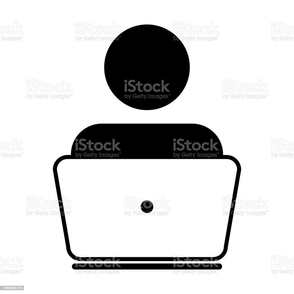 User Icon Vector With Laptop Computer Male Person Profile Avatar For