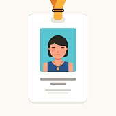 User id card with female photo. Id card for businessman.