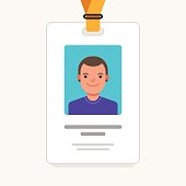 User id card with male photo. Business conference concept