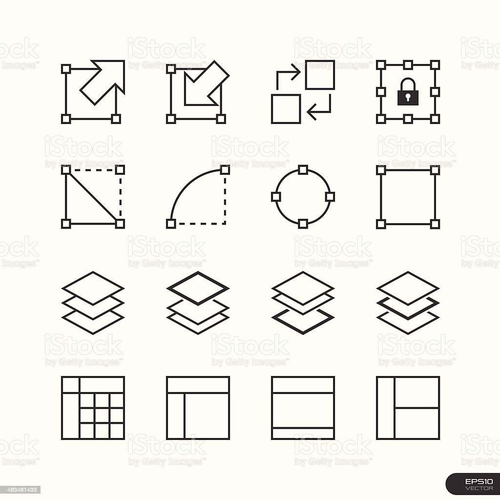 User Interface & Design Elements icon set vector art illustration