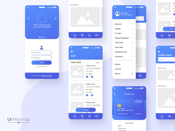user interface design template in blue colors. conceptual mobile phone screen mock-up for application interface presentation. ui, ux, gui kit isolated on grey background. vector eps 10. - graficzny interfejs użytkownika stock illustrations