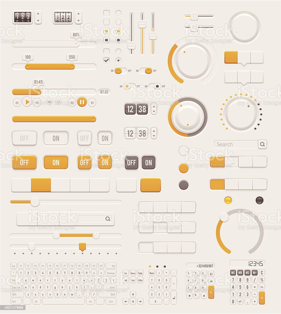 User interface dials set Set of the detailed switches, sliders, buttons and keyboards Adjusting stock vector