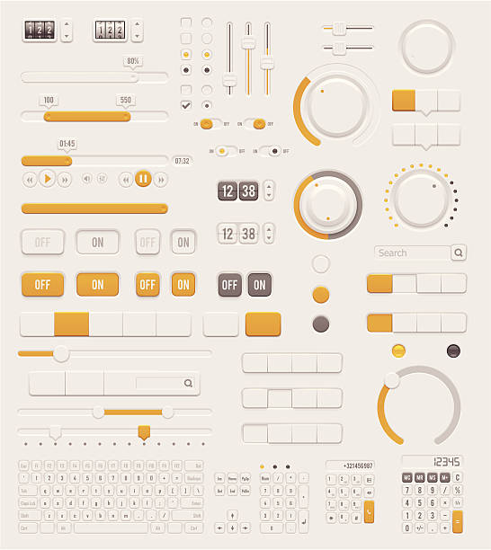 User interface dials set Set of the detailed switches, sliders, buttons and keyboards knob stock illustrations