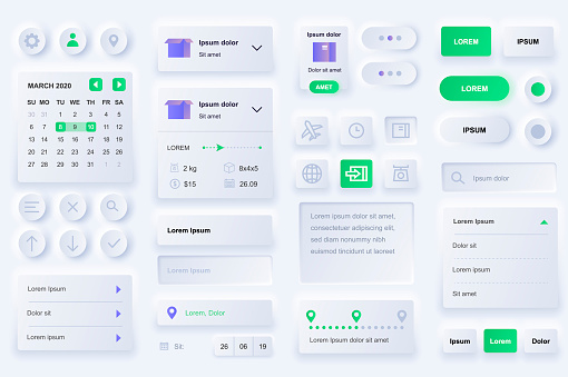 User interface elements for delivery mobile app. International express delivery, logistics and route tracking gui templates.