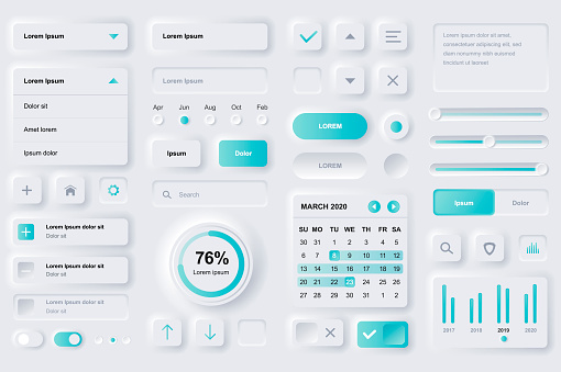 User interface elements for finance mobile app. Financial analytics, time management and planning gui templates. Unique neumorphic ui ux design kit.