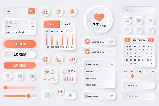 User interface elements for fitness workout mobile app. Fitness tracker, sport activity planner, heart rate monitor gui templates. Unique neumorphic ui ux design kit.