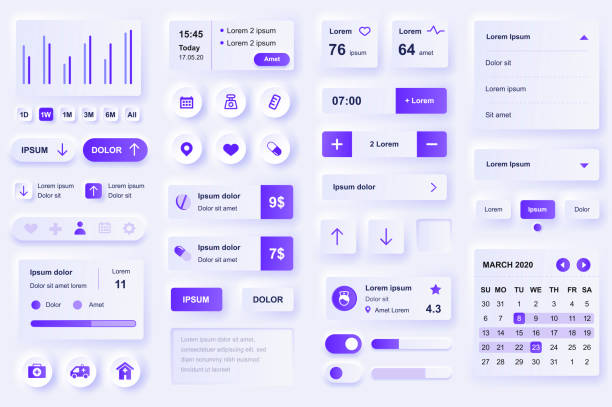 User interface elements for medical mobile app. Diagnosis and treatment, pharmacy store and laboratory gui templates. Unique neumorphic ui ux design kit. vector art illustration