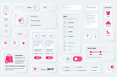 User interface elements for shopping mobile app. Unique neumorphic design UI, UX, GUI, KIT elements template. Neumorphism style. Different form, components, button, menu, shopping