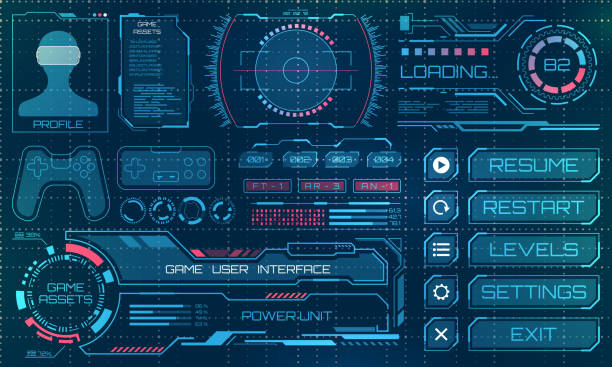 hud user interface, gui, futuristic panel with infographic elements - graficzny interfejs użytkownika stock illustrations