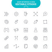 Web, USA, E-Mail, UI/UX, Editable Stroke Set