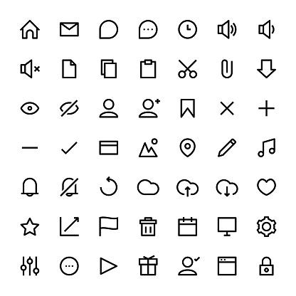 User interface line icon set black