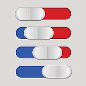 User interface slider. Blue and red control bar