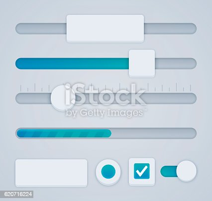 User interface sliders, buttons and radio buttons design elements. EPS 10 file. Transparency effects used on highlight elements.
