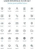 User interface theme line icon set.