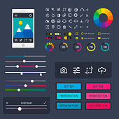 User interface vector phone laptop tab device mobile app indicators download progress ui-ux web interface design template file upload illustration. Interface elements.