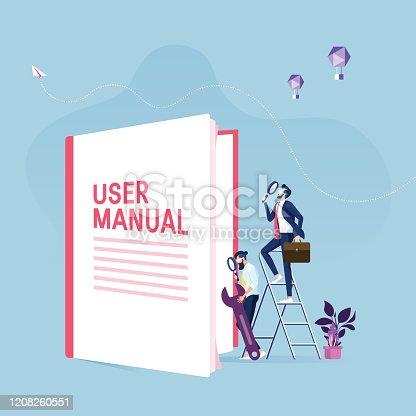 istock User manual concept-Businessman with guide instruction or textbooks 1208260551