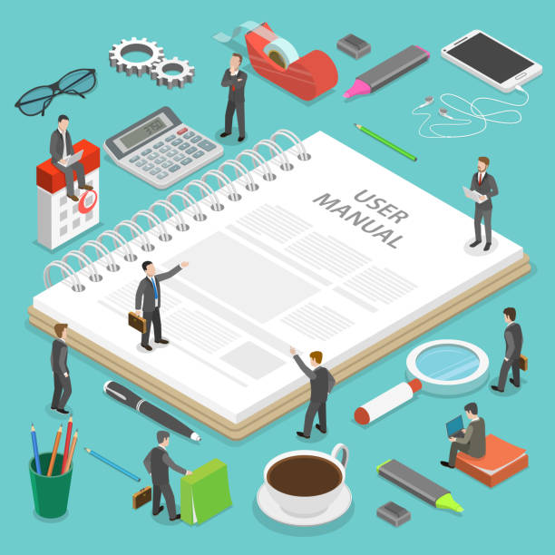 User manual flat isometric vector concept. User manual flat isometric vector concept. People, surrounded with some office stuff, are discussing a content of the guide book. guide stock illustrations