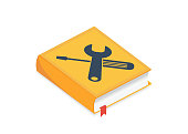 User manual, guide, instruction, guidebook, Handbook isometric concept. Vector illustration. User guide manual book illustration in flat style with settings icon. Concept of User Manual.